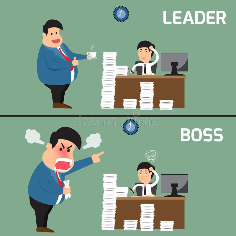 Διαφορά μεταξύ του προϊσταμένου και του ηγέτη Κύριος υπάλληλος βοήθειας για το worki ελεύθερη απεικόνιση δικαιώματος