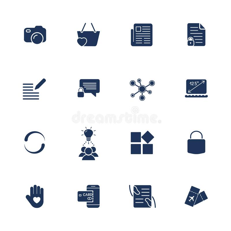 Διαφορετικά απλά καθολικά εικονίδια για τις περιοχές, apps, προγράμματα Κάμερα, αγγελιοφόρος, lap-top, κοινωνικό δίκτυο, κλειδαρι διανυσματική απεικόνιση