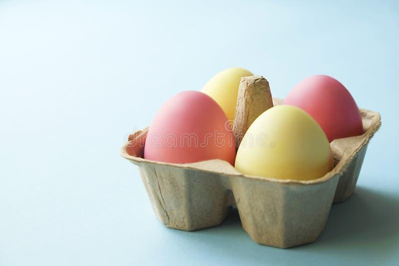 Διαφορετικά αυγά Πάσχας χρώματος κρητιδογραφιών που γεννιούνται και που τακτοποιούνται στην όμορφη σύνθεση με τα άσπρα wildflower στοκ εικόνες