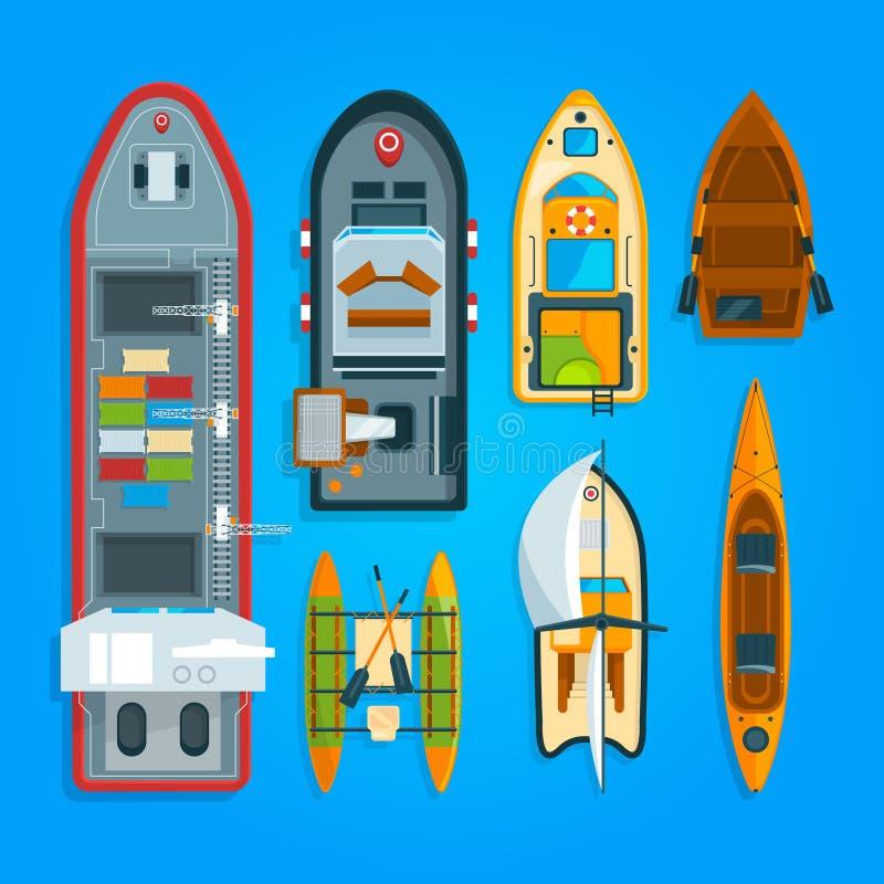 Διαφορετικά βάρκες και σκάφη θάλασσας Διανυσματική κορυφή απεικονίσεων διανυσματική απεικόνιση