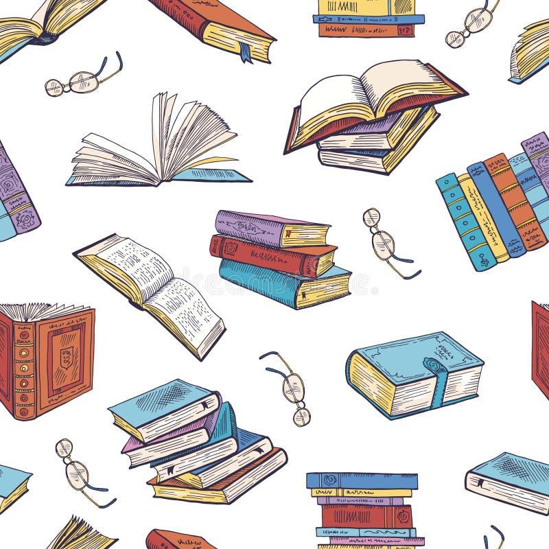 Διαφορετικά βιβλία από τη βιβλιοθήκη Διανυσματικές απεικονίσεις Doodle πρότυπο άνευ ραφής απεικόνιση αποθεμάτων