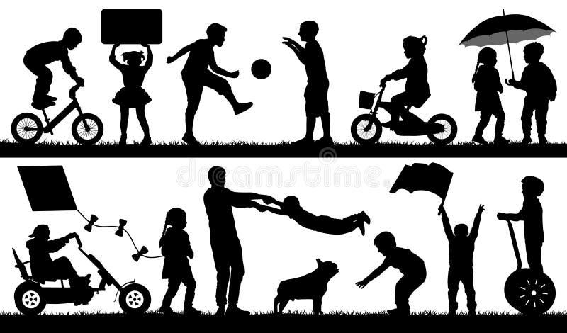 Διαφορετικά γεγονότα παιδιών, σύνολο Παιχνίδι παιδιών υπαίθριο, διάνυσμα σκιαγραφιών διανυσματική απεικόνιση
