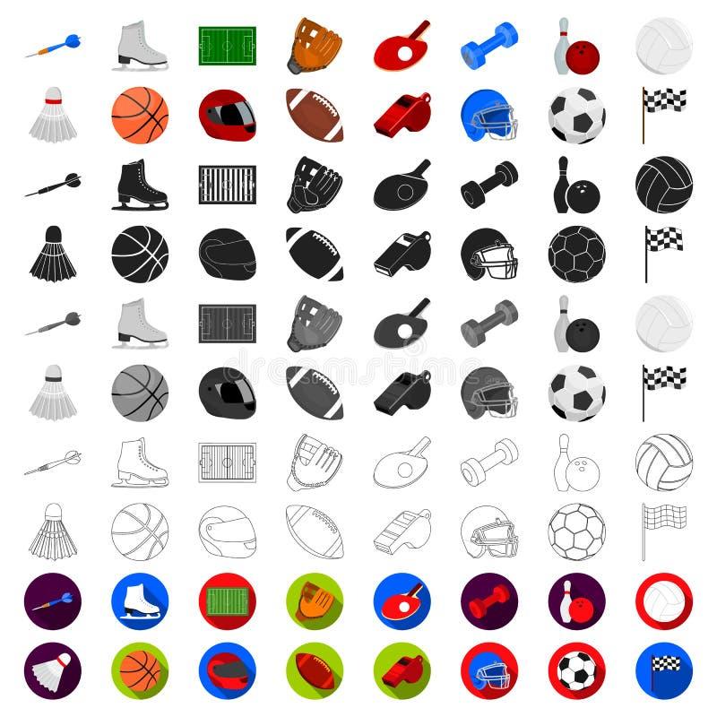 Διαφορετικά είδη εικονιδίων αθλητικών κινούμενων σχεδίων στην καθορισμένη συλλογή για το σχέδιο Διανυσματικός Ιστός αποθεμάτων συ διανυσματική απεικόνιση