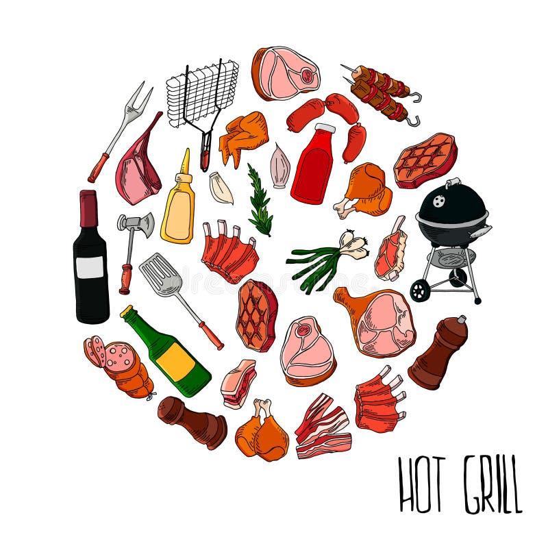 Διαφορετικά ειδικά εργαλεία και τρόφιμα για το κόμμα σχαρών , κρέας, μπριζόλα και λουκάνικο Bbq σχάρα και τρόφιμα που ψήνονται στ διανυσματική απεικόνιση