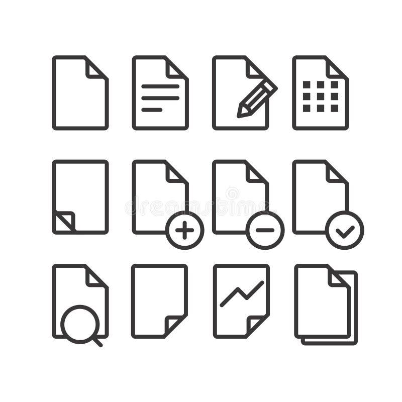 Διαφορετικά εικονίδια εγγράφων που τίθενται με τις στρογγυλευμένες γωνίες διανυσματική απεικόνιση