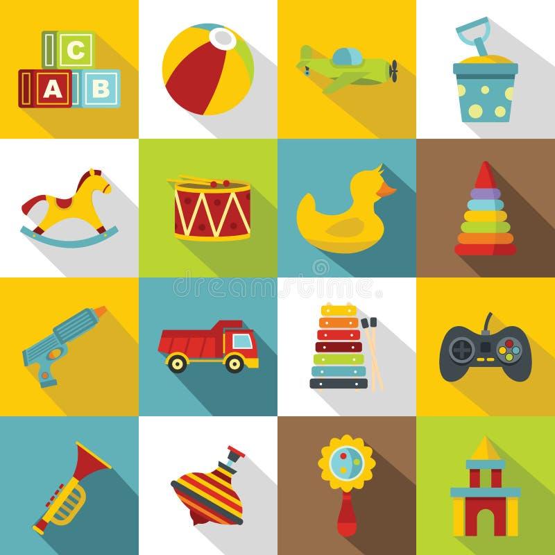 Διαφορετικά εικονίδια παιχνιδιών παιδιών καθορισμένα, επίπεδο ύφος διανυσματική απεικόνιση