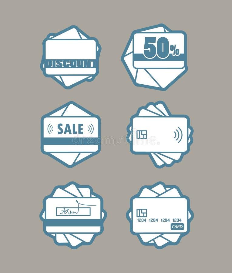 Διαφορετικά εμβλήματα του πλαστικού διανυσματικού συνόλου καρτών διανυσματική απεικόνιση