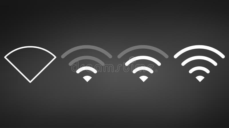 Διαφορετικά επίπεδα σημάτων WI-Fi Ασύρματο εικονίδιο δεικτών δύναμης σημάτων Σημάδι για τη μακρινή πρόσβαση Διαδικτύου επίσης cor διανυσματική απεικόνιση