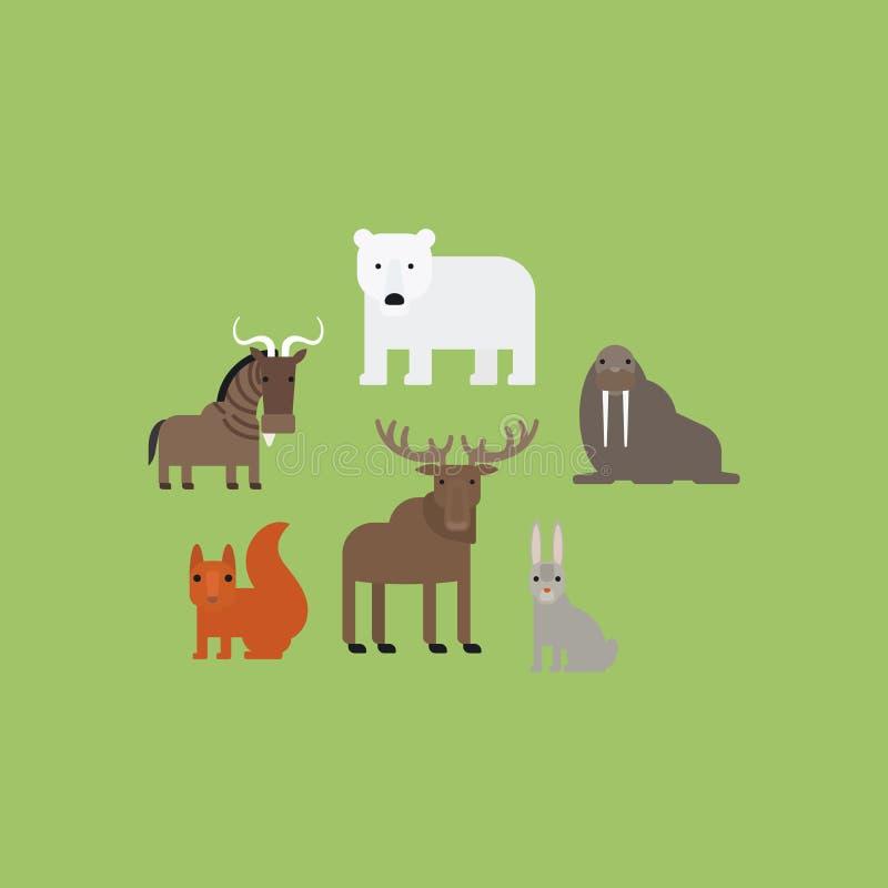 Διαφορετικά επίπεδα εικονίδια ζώων καθορισμένα απεικόνιση αποθεμάτων