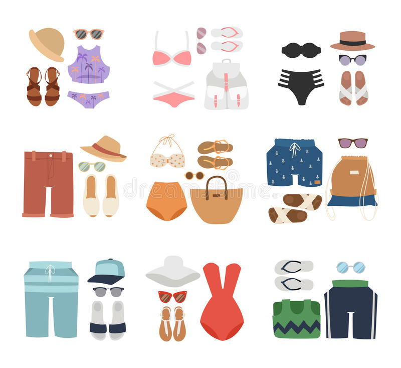 Διαφορετικά επίπεδα διανυσματικά θερινά εικονίδια ταξιδιού μόδας Beachwear ελεύθερη απεικόνιση δικαιώματος