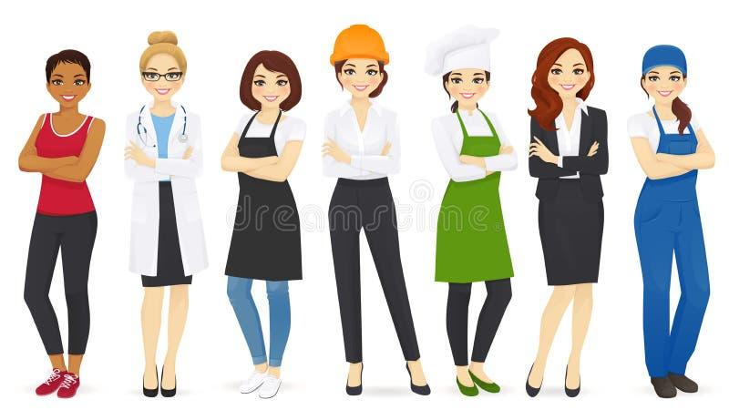 Διαφορετικά επαγγέλματα γυναικών καθορισμένα διανυσματική απεικόνιση