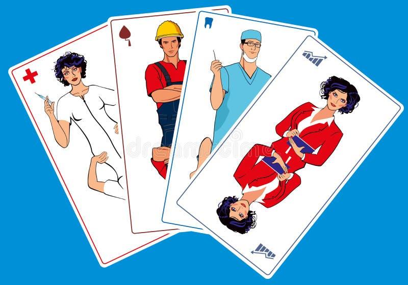 Διαφορετικά επαγγέλματα υπό μορφή καρτών παιχνιδιού Νοσοκόμα, οικοδόμος, οδοντίατρος και διευθυντής ελεύθερη απεικόνιση δικαιώματος