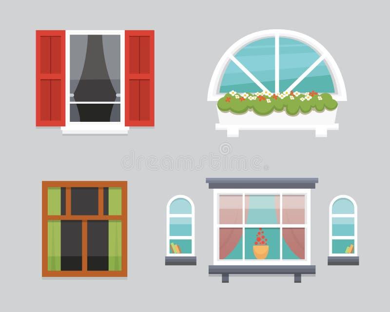 Διαφορετικά εσωτερικά παράθυρα της διανυσματικής απεικόνισης διάφορων μορφών Υπαίθρια ή εξωτερική άποψη σχεδίου αρχιτεκτονικής, ο ελεύθερη απεικόνιση δικαιώματος