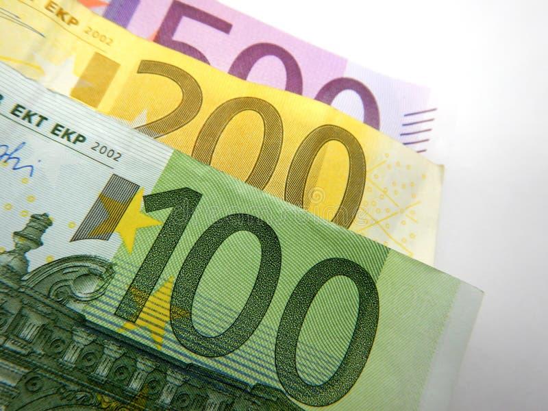 Διαφορετικά ευρο- τραπεζογραμμάτια, 500, 200, 100 ευρώ στοκ εικόνα