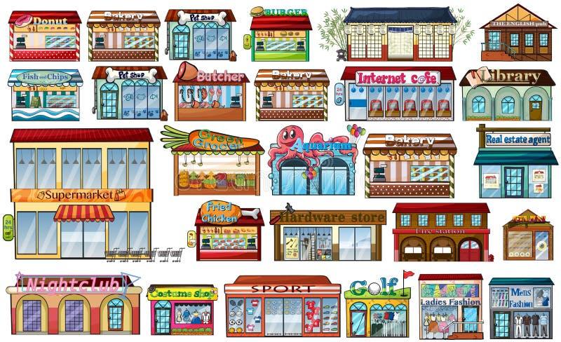 Διαφορετικά καταστήματα και κτήρια διανυσματική απεικόνιση