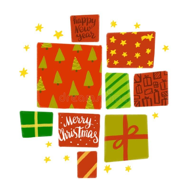 Διαφορετικά κιβώτια των ζωηρόχρωμων χριστουγεννιάτικων δώρων που απομονώνονται στο λευκό διανυσματική απεικόνιση