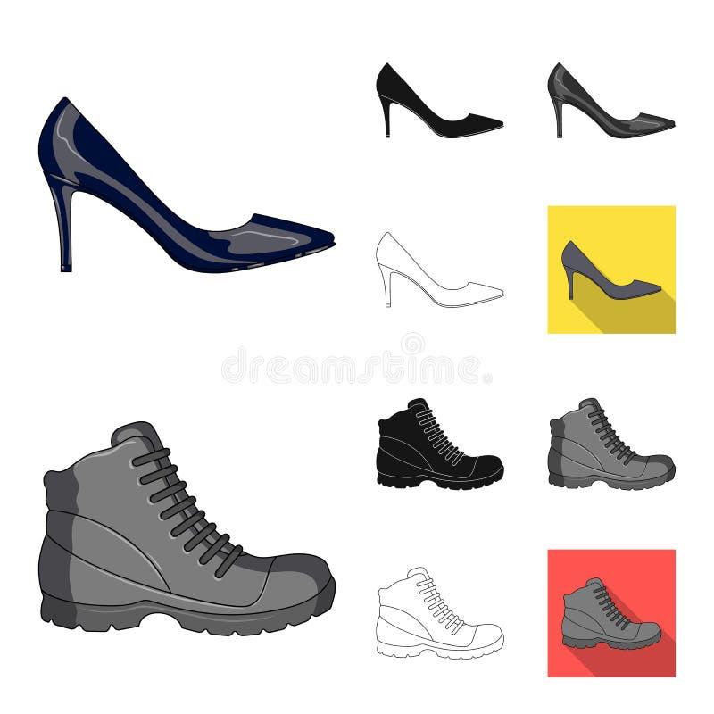 Διαφορετικά κινούμενα σχέδια παπουτσιών, ο Μαύρος, επίπεδος, μονοχρωματικός, εικονίδια περιλήψεων στην καθορισμένη συλλογή για το ελεύθερη απεικόνιση δικαιώματος