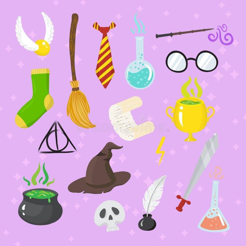 Διαφορετικά μαγικά στοιχεία για τις μάγισσες στο ύφος κινούμενων σχεδίων απεικόνιση αποθεμάτων