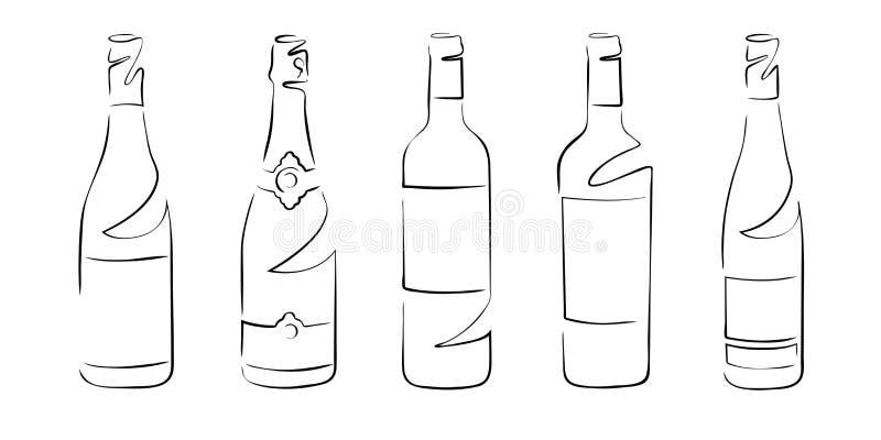 Διαφορετικά μπουκάλια κρασιού, σύνολο - διανυσματικό σχέδιο απεικόνιση αποθεμάτων