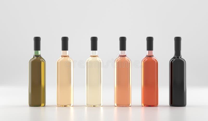 Διαφορετικά μπουκάλια κρασιού χωρίς ετικέτες απεικόνιση αποθεμάτων