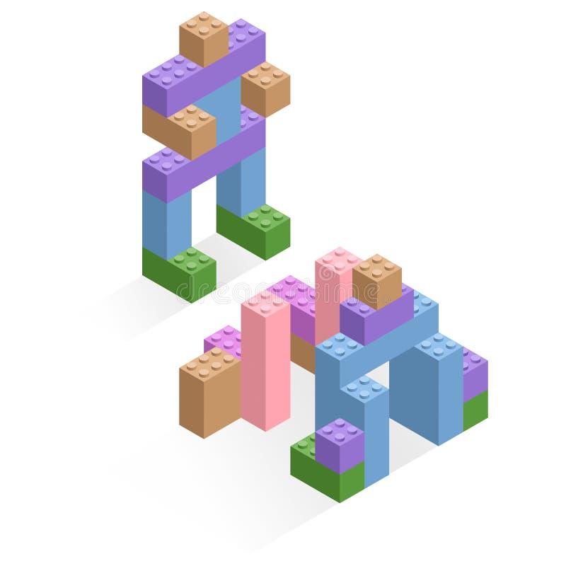 Διαφορετικά πλαστικά κομμάτια διανυσματική απεικόνιση