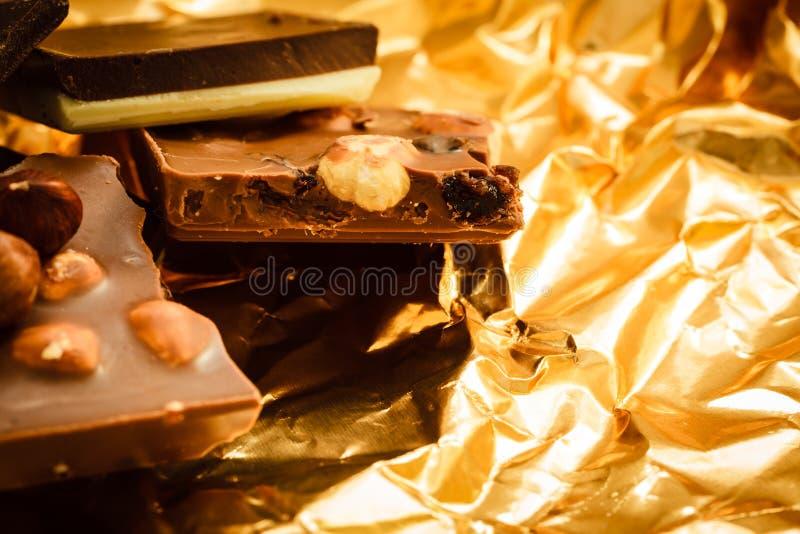 Διαφορετικά σοκολάτα και φουντούκια ειδών στοκ εικόνες