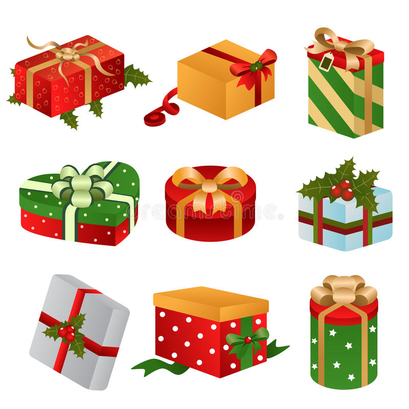 Διαφορετικά σχέδια των κιβωτίων χριστουγεννιάτικου δώρου διανυσματική απεικόνιση