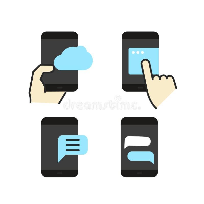Διαφορετικά σύγχρονα επίπεδα εικονίδια χρώματος smartphone ελεύθερη απεικόνιση δικαιώματος