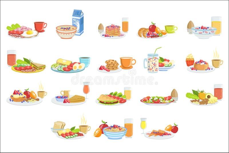 Διαφορετικά σύνολα τροφίμων και ποτών προγευμάτων Η συλλογή των επιλογών πρωινού καλύπτει τις απεικονίσεις λεπτομερή σε απλό διανυσματική απεικόνιση