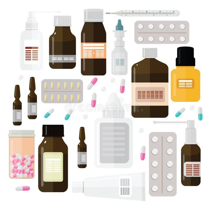 Διαφορετικά φάρμακα στις φυσαλίδες σε ένα άσπρο υπόβαθρο στοκ φωτογραφίες με δικαίωμα ελεύθερης χρήσης