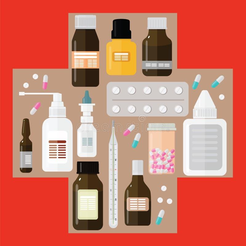 Διαφορετικά φάρμακα στον ιατρικό σταυρό σε ένα κόκκινο υπόβαθρο στοκ φωτογραφίες με δικαίωμα ελεύθερης χρήσης