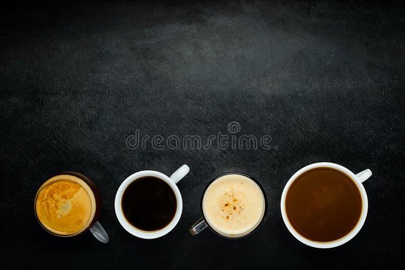 Διαφορετικά φλυτζάνια καφέ με το διάστημα αντιγράφων στοκ εικόνες με δικαίωμα ελεύθερης χρήσης