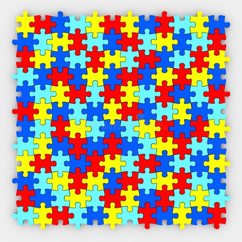 Διαφορετικά χρώματα υποβάθρου κομματιών γρίφων που εγκαθιστούν από κοινού διανυσματική απεικόνιση
