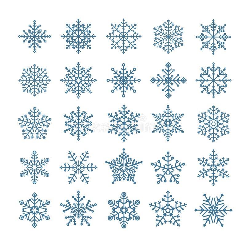 Διαφορετικά snowflake στοιχεία καθορισμένα διανυσματική απεικόνιση