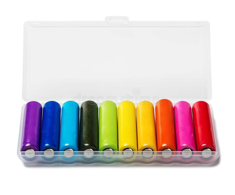 Διαφορετικές αλκαλικές μπαταρίες ή επαναφορτιζόμενες μπαταρίες ISO χρώματος στοκ εικόνες με δικαίωμα ελεύθερης χρήσης