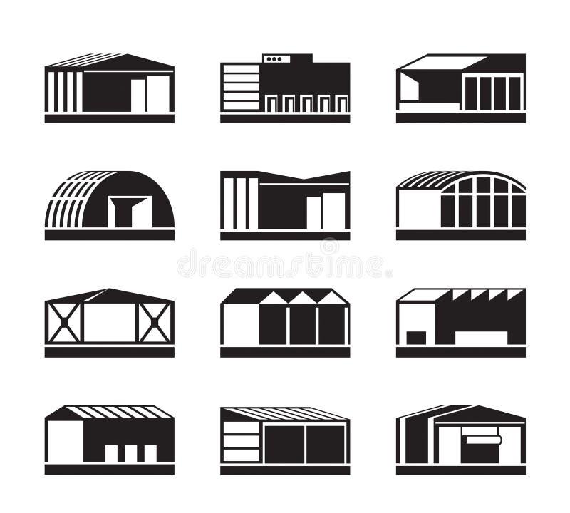 Διαφορετικές βιομηχανικές αποθήκες εμπορευμάτων απεικόνιση αποθεμάτων