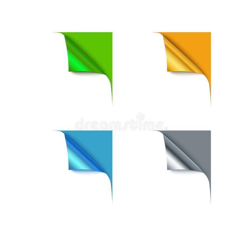 Διαφορετικές γωνίες χρώματος εγγράφου και κενό διάστημα για το κείμενό σας, διανυσματική απεικόνιση διανυσματική απεικόνιση