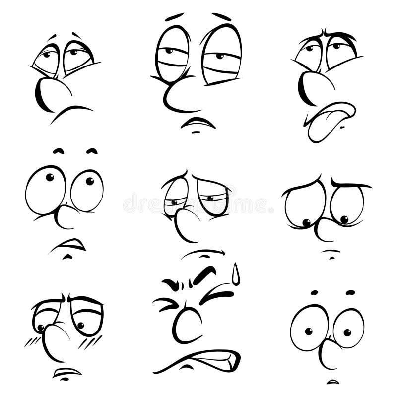 Διαφορετικές εκφράσεις του προσώπου στο άσπρο υπόβαθρο διανυσματική απεικόνιση