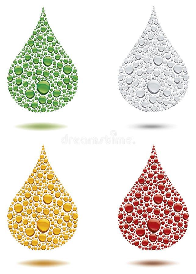 διαφορετικές πτώσεις νερού χρώματος που δημιουργούν τη μεγάλη πτώση απεικόνιση αποθεμάτων