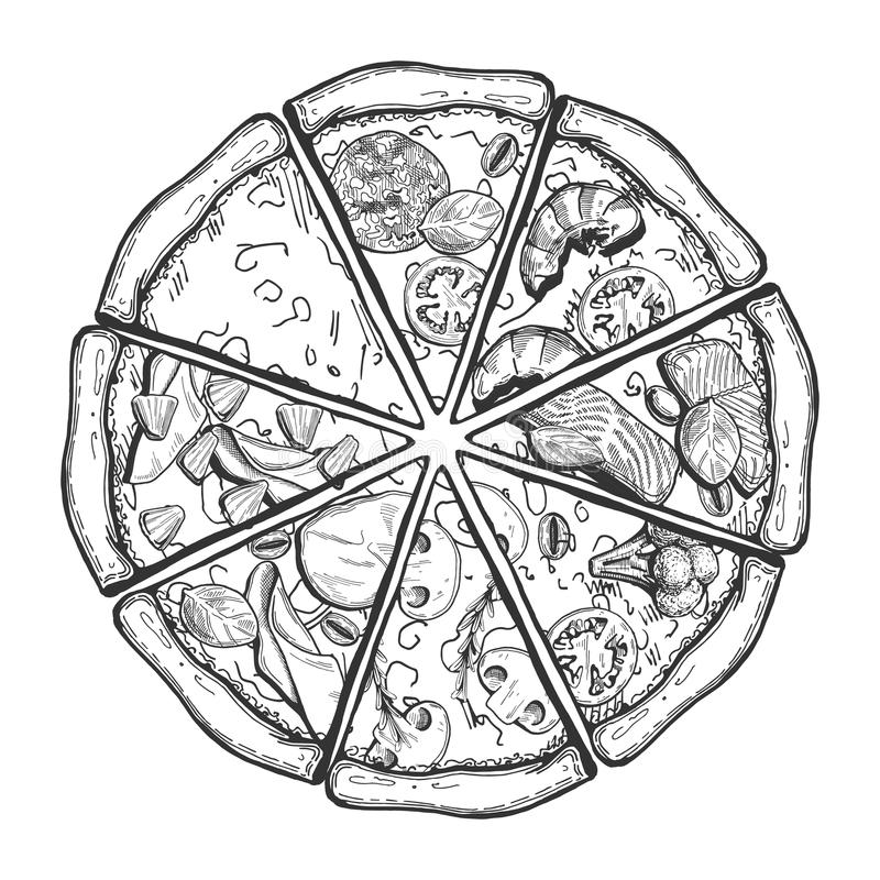Διαφορετικές φέτες πιτσών διανυσματική απεικόνιση