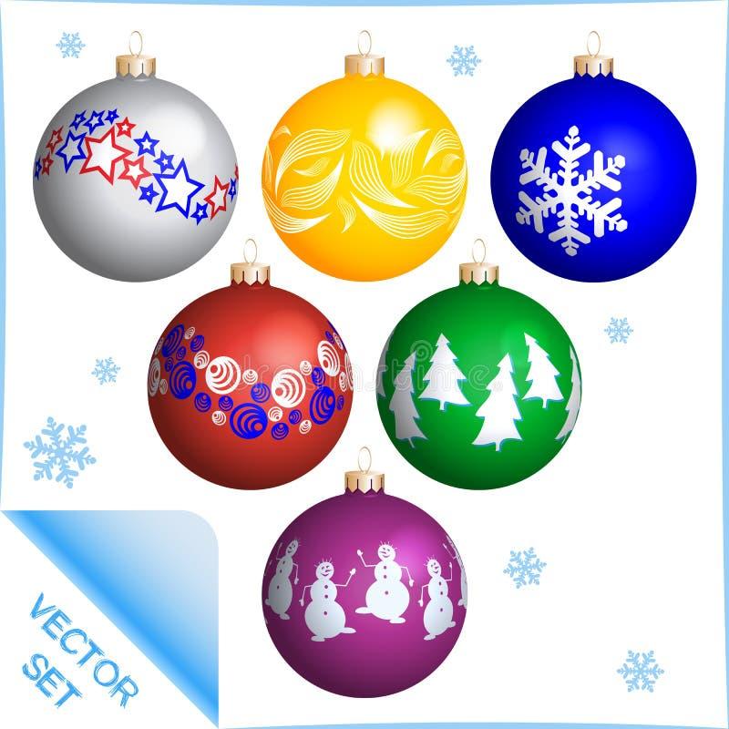 Διαφορετικές χρωματισμένες σφαίρες Χριστουγέννων καθορισμένες δρύινο διάνυσμα προτύπων κορδελλών φύλλων δαφνών συνόρων απεικόνιση αποθεμάτων