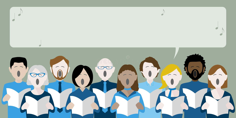 Διαφορετική ομάδα τραγουδιού χορωδιών ενηλίκων απεικόνιση αποθεμάτων