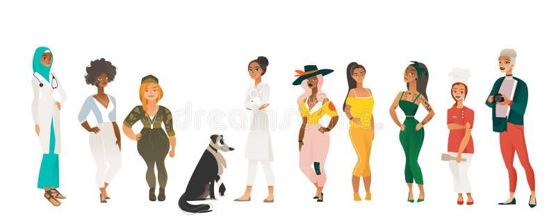 Διαφορετική ομάδα όμορφων γυναικών - χαρακτήρες κινουμένων σχεδίων με τις διαφορετικές εξαρτήσεις, οργανισμοί, μεγέθη και έθνη ελεύθερη απεικόνιση δικαιώματος