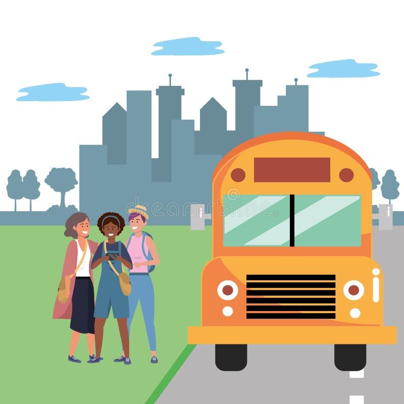 Διαφορετική στάση λεωφορείου ομάδας σπουδαστών διανυσματική απεικόνιση
