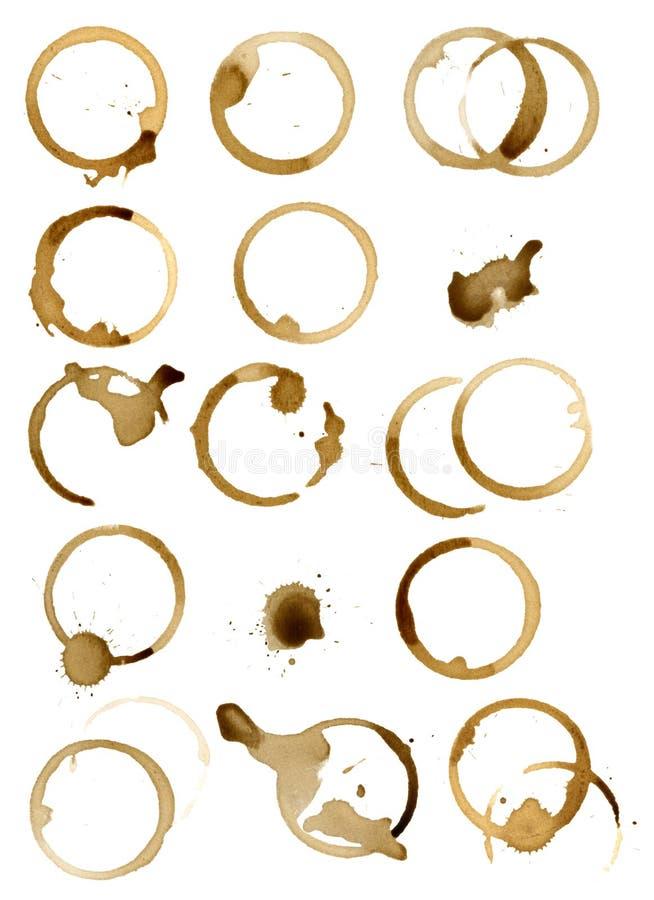 διαφορετικοί απομονωμένοι λεκέδες καφέ στοκ φωτογραφία με δικαίωμα ελεύθερης χρήσης