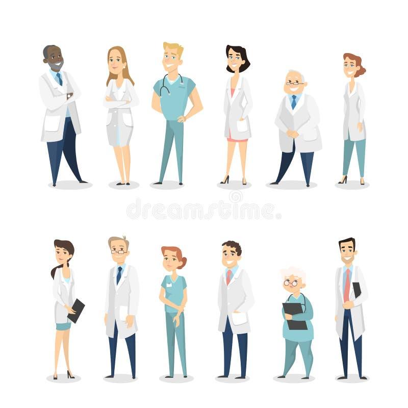 Διαφορετικοί γιατροί καθορισμένοι διανυσματική απεικόνιση