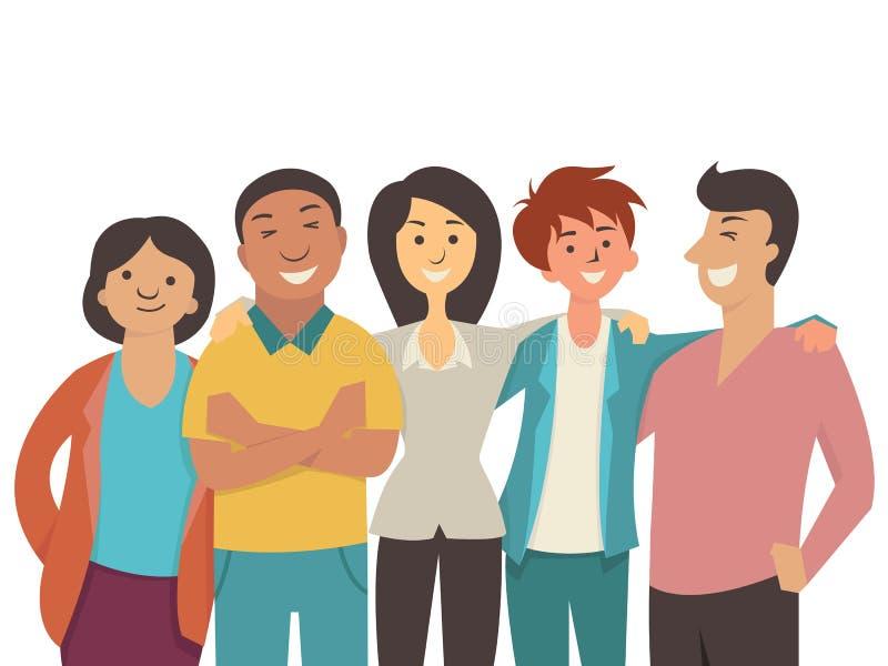 Διαφορετικοί ευτυχείς άνθρωποι ελεύθερη απεικόνιση δικαιώματος
