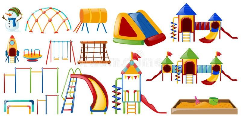 Διαφορετικοί σταθμοί στην παιδική χαρά διανυσματική απεικόνιση
