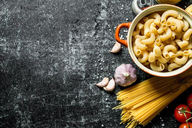 Διαφορετικοί τύποι ακατέργαστων κολλών με τα καρυκεύματα, τις ντομάτες και το σκόρδο στοκ φωτογραφία με δικαίωμα ελεύθερης χρήσης