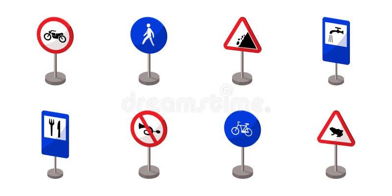 Διαφορετικοί τύποι εικονιδίων οδικών σημαδιών στην καθορισμένη συλλογή για το σχέδιο Διανυσματικός Ιστός αποθεμάτων συμβόλων προε απεικόνιση αποθεμάτων